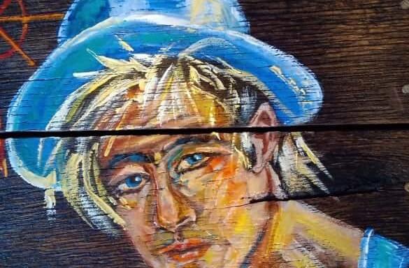 Αγέρας  Ζωγραφική σε παλιά πόρτα #2